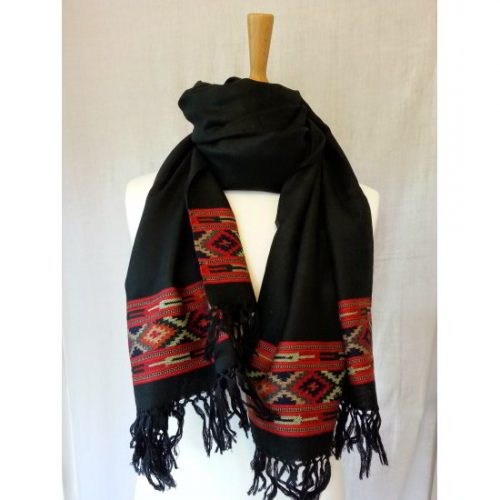 Black shawl with red border