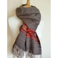 Brown diamond weave stole with decorative border