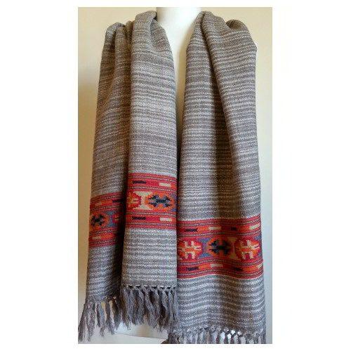 Grey-beige shawl with red decorative border