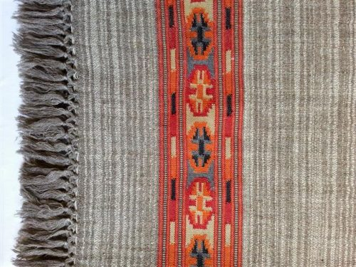 Grey/ beige shawl with red decorative border - detail