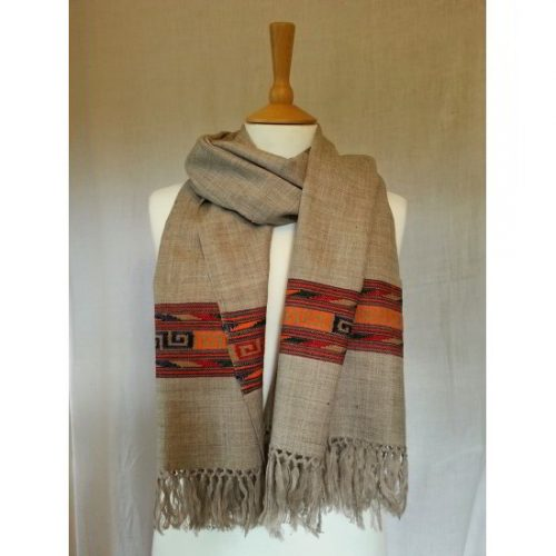 Pale grey shawl with red geometric border