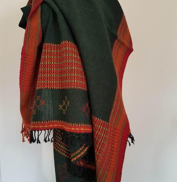 Bhujodi shawl-dark green - Karāgha Textiles