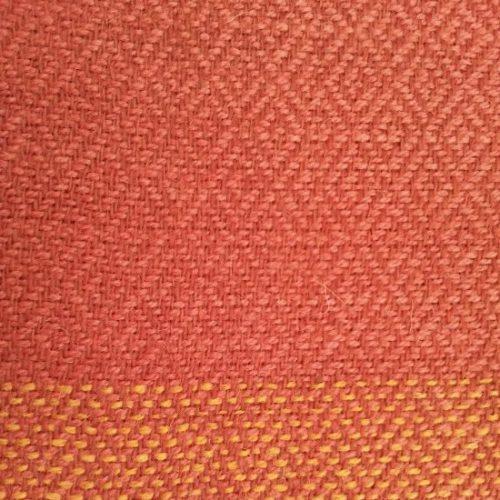 red orange diamond weave fringe shawl